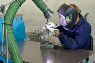 The next step is welding; this phase is the most crucial and is done with meticulous care and accuracy.