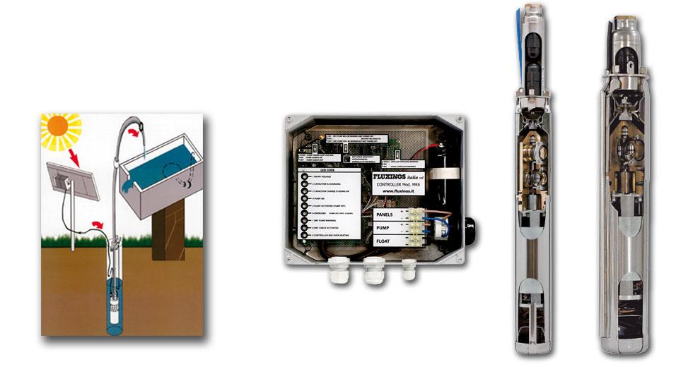 Piston solar pumps Starflux, Tetraflux, Solaflux: max depth 175 mt, max capacity 16.900 lt/day