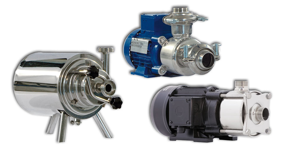 Centrifugal pumps with inox impeller, fitted for dairy industries.