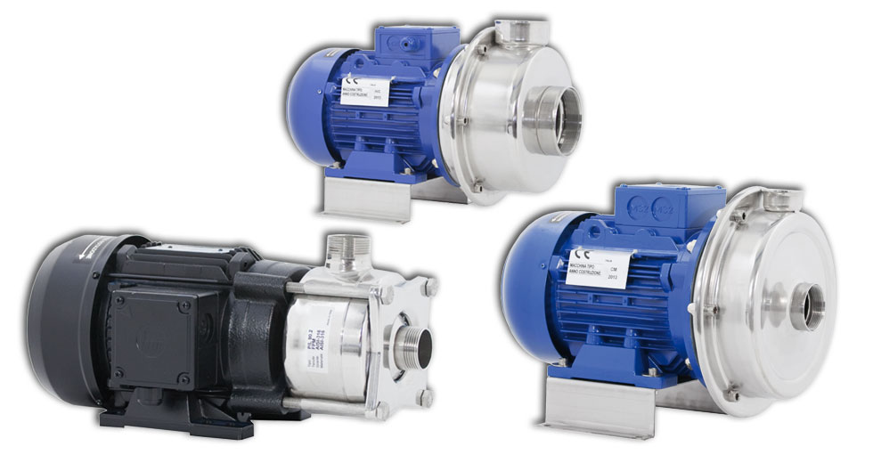 Centrifugal pumps with inox impeller, fitted for industrial services.