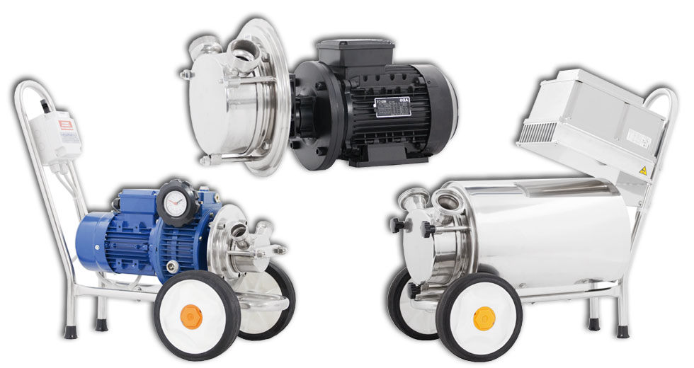 Self-priming pumps with rubber impeller, high density liquids or with solids in suspension can be pumped without damage.